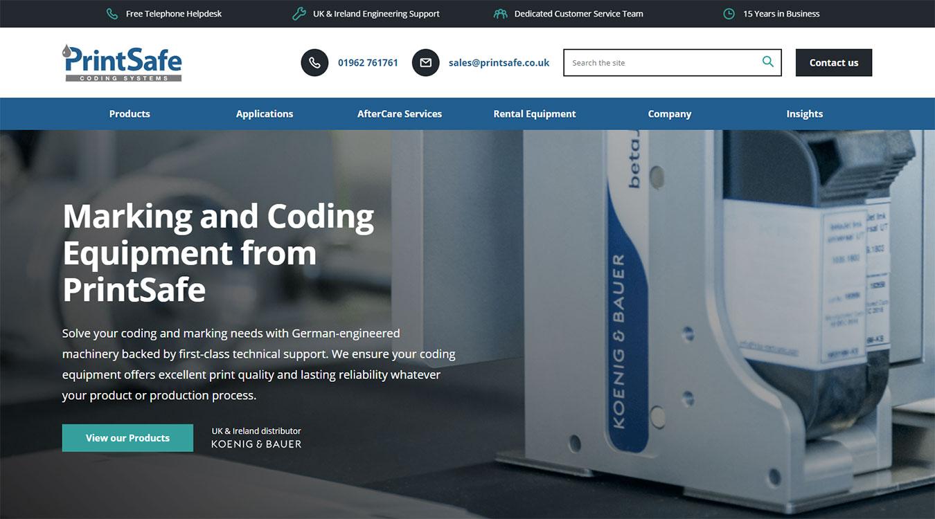 The homepage of the new Printsafe WordPress website